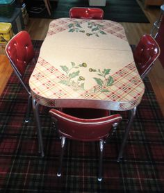 Tartan and thistle Scots themed 1950s Formica table