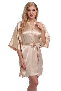 KimonoArt Women s Satin Kimono Robes Short Wedding Bath Robes For  Bridesmaids and Bride - Apricot - C012BH2LQP9 262f94b11