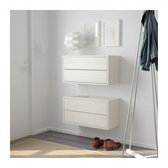 VALJE Wall cabinet with 2 drawers - larch white - IKEA