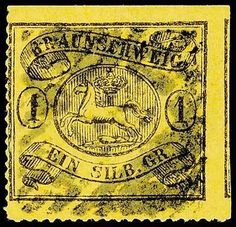 """Old German States Brunswick, Michel 11B. 1 Sgr. black on yellow, on all sides in perfect condition arc-shaped rouletted """"16"""" - above and right lies the roulette inside of scissors separation, used with number cancellation, faultless condition, signed Gustav Rühland, photo expertize Georg Buehler (1978) and photo expertize Brettl BPP: """"fine and faultless condition, unrepaired. """", Michel 2. 000. - in this quality a rare stamp!"""