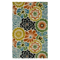 New Zealand wool rug with a multicolor floral motif. Hand-tufted in India.  Product: RugConstruction Material: N...