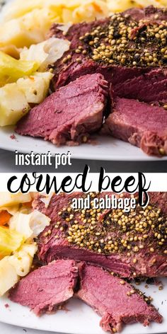 This Instant Pot Corned Beef and Cabbage recipe is served with carrots and potatoes for a perfect St. Patrick's Day celebration. Cooking corned beef and cabbage in an electric pressure cooker means this traditional Irish dinner will be ready in less time than other cooking methods for a quick and easy one pot meal. Pork Recipes For Dinner, Instant Pot Dinner Recipes, Supper Recipes, Beef Recipes, Cooking Recipes, Family Recipes, Potato Recipes, Easy Recipes, Healthy Recipes