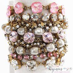 Stacking Catherine Popesco Swarovski bracelets. Available at www.regencies.com