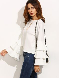 SheIn offers White Round Neck Ruffle Long Sleeve Blouse & more to fit your fashionable needs. Ruffle Shirt, Ruffle Sleeve, Flutter Sleeve, Top Chic, Blouse Col V, Fashion Clothes, Fashion Outfits, Clothes Women, Fashion Styles