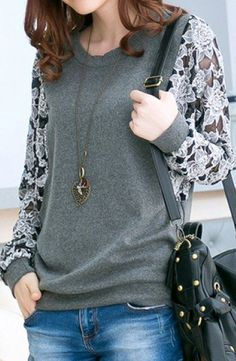 sheer floral sleeve sweatshirt