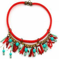 Collar Amunet Lazo Rojo.  www.dulceecanto.com - Tienda online de accesorios para mujer