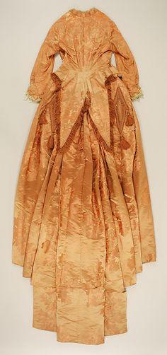 House of Worth, Tangerine Silk Dinner Dress. Paris, c. 1877 (Back View)