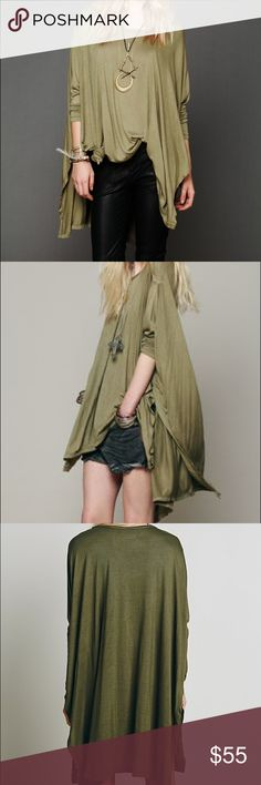 Free People Big Dipper Oversized Tee Olive green half sleeve tee from Free People beach. Oversized and can be tied up or worn many different ways. Great condition. One size fits all. Free People Tops Tunics