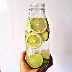 homemade detox water /// lemon + cucumber