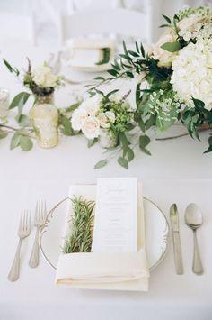 Ivory and sage green wedding. Rosemary napkins and farm dinner menu. Wedding flowers. Photography by Kina Wicks.