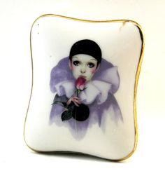 Vintage Pierrot Love Trinket Box  Belina by HobartCollectables