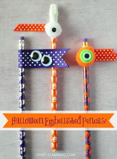 Make #DIY Halloween embellished pencils using Elmer's CraftBond Glue Spots, ribbon, pom poms, and googly eyes! Simple, spooky craft for kids! #Halloween #kidscraft