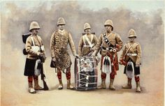 A superb Colour plate of a Private, Drummers, Piper and Bugler of the Black Watch 1901