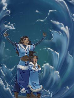 Katara teaching her daughter - Trend Charakter Design Cartoon 2019 Avatar Aang, Avatar Airbender, Avatar Legend Of Aang, Team Avatar, Legend Of Korra, Avatar Cartoon, Avatar Funny, Avatar Fan Art, Arte Ninja