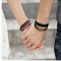 Couples Multi layer wrap bracelets Love is in the air!  Instead of exchanging rings exchange these leather layered bracelets made for men and women These 2 wrap style bracelets would make for a cute boyfriend girlfriend I love you bracelets. Guys and girls both love wearing these leather  bracelets. Black Multi wrap bracelet with adjustable closure. The next is a wrap around snap closure with multiple layers through out and a thin chain included in the leather wrap around. I will add you a…