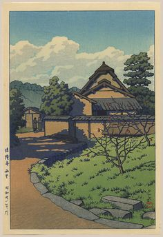 """Western Hamlet, Horyu Temple"" by Hasui, Kawase"