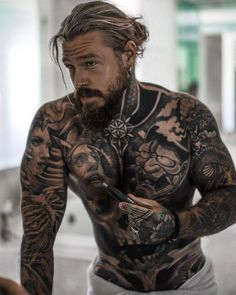 Grow a beard, not your nose hair. Grow a beard, not your nose hair. Sexy Tattooed Men, Bearded Tattooed Men, Tattoed Guys, Handsome Bearded Men, Bodybuilding Tattoo, Hair And Beard Styles, Long Hair Styles, Hot Guys Tattoos, Men With Tattoos