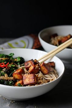 Baked Miso Glazed Tofu with Stir Fried Veggies & Noodles - www.thelastfoodblog.com