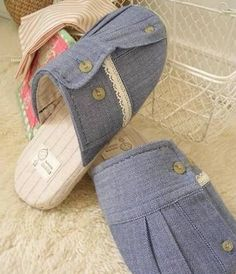 DIY Making Slippers From Old Clothes. That's really cool!!!