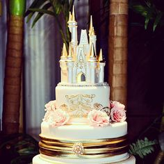 Today's Wedding Cake Wednesday is a pink and gold soirée!  #Disney #cake #wedding #castle