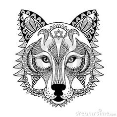 vector-ornamental-wolf-ethnic-zentangled-mascot-amulet-mask-werewolf-patterned-animal-adult-anti-stress-coloring-pages-63412932.jpg (400×400)