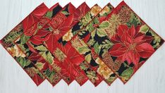 Christmas Cloth Napkins Poinsettia Red Beverage Cocktail 5 Inch Set of 7