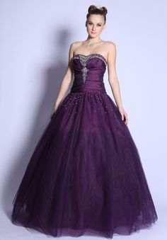 CLEARANCE - Strapless Plum Cinderella Gown Rhinestone Princess Tulle Poofy Gown