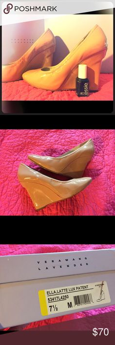 Spotted while shopping on Poshmark: Nude patent Vera Wang wedge high heels.! #poshmark #fashion #shopping #style #Vera Wang #Shoes