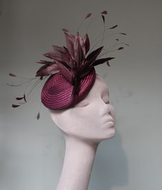 AUBERGINE FEATHER COCKTAIL HAT