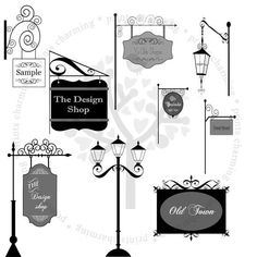 Items similar to Old Town hanging signs and street lamps on Etsy Wayfinding Signage, Signage Design, Pole Sign, Sign System, Street Lamp, Store Signs, Hanging Signs, Old Town, Poster