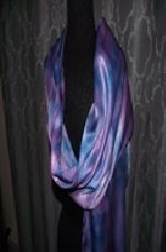 Hand Painted Silk Scarf ~ BLUE/PINK TLT235      $35