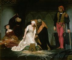 The Execution of Lady Jane Grey--No doubt how the painter views Lady Jane. An innocent all in white.