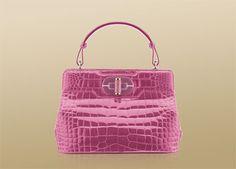 "Bulgari ""I. Rossellini"" handbag in shiny alligator skin in raspberry pink colour and light gold plated hardware"