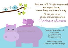 JUNGLE Invitation with hippos and birdies by littlebirdieprints, $15.00