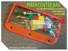 Math Center Bags: Students grab a bag when they head to their station... already has any manipulatives they may need!  Plus the bag works as a dry erase board!