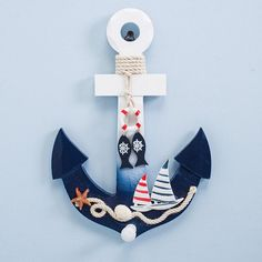 Mediterranean Style Wooden Nautical Anchor Hook Wall Hanging Ornament for Home Coffee Bar Vintage Wood Decoration Crafts Art Specifications: Wonderful addition to a nautical collection. The perfect gift for seafaring family members. Wood Anchor, Nautical Anchor, Nautical Home, Decor Crafts, Wood Crafts, Coffee Bar Home, Hanging Ornaments, Mediterranean Style, Vintage Wood