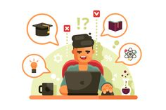 Man studying with laptop Flat design illustration Illustration Study
