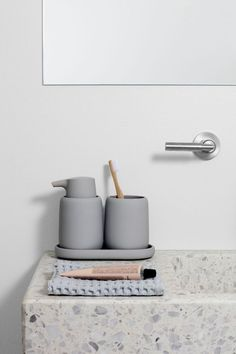 I love how this bathroom basin combines two current interior design trend of being appearing to be made of terrazzo and statement sinks. I love that this basin appears to be seamless which adds to its luxurious appearance. Mold In Bathroom, Bathroom Wall Decor, Bathroom Interior Design, Bathroom Styling, Small Bathroom, Bathroom Basin, Bathroom Storage, Bathroom Vanities, 1920s Bathroom