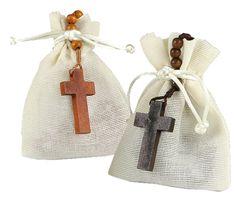 Rosario colgante en madera, en bolsa algodón