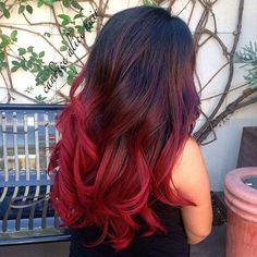 Wonderful bright red  ombre hair color for dark hair girls, nice wavy balayage hairstyle