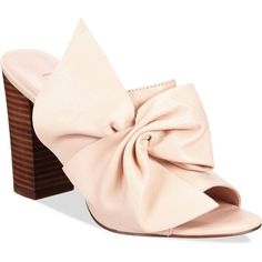 Avec Les Filles Marie Bow Block-Heel Mules (2.840 ARS) ❤ liked on Polyvore featuring shoes, pink sand, pink block heel shoes, chunky shoes, bow shoes, sand shoes and pink shoes