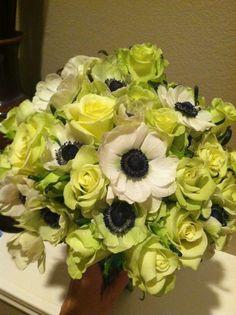 Anenomies, green tea spray roses Petals by Design (Laura)