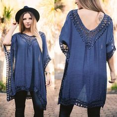 New fall arrivals online now! Shop our Navy Escapes Sheer Crochet Tunic for $44 at www.lotusboutique.com✨ #lotusboutique #lotusootd #lotd #fashion