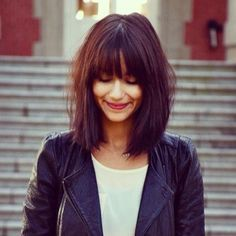Top saved idea for bangs. When it comes to bangs, a more blunt cut is in side, versus side-swept.