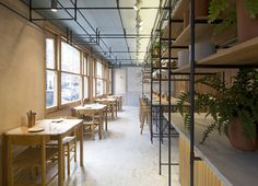 Athens architects k-studio overcome a tricky floor plan at London restaurant... http://www.we-heart.com/2014/09/05/opso-london/