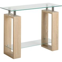 The Milan Console Table is a contemporary and attractive table which pleasantly blends glass surfaces with a light sonoma oak effect finish.