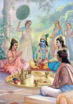 Shri Krishna doing ritual