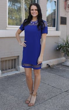 The Cobalt Organza Ponte Shift - Feel vibrant while you work or play with our NEW cobalt blue dress. Dress and Dwell - Good things for you and your home