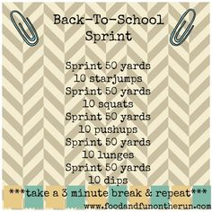 Back To School Sprint Workout - Food and Fun on the Run