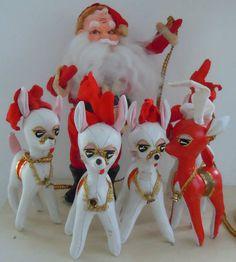 Vintage Santa w 5 Faux Leather Vinyl Reindeer Large | eBay